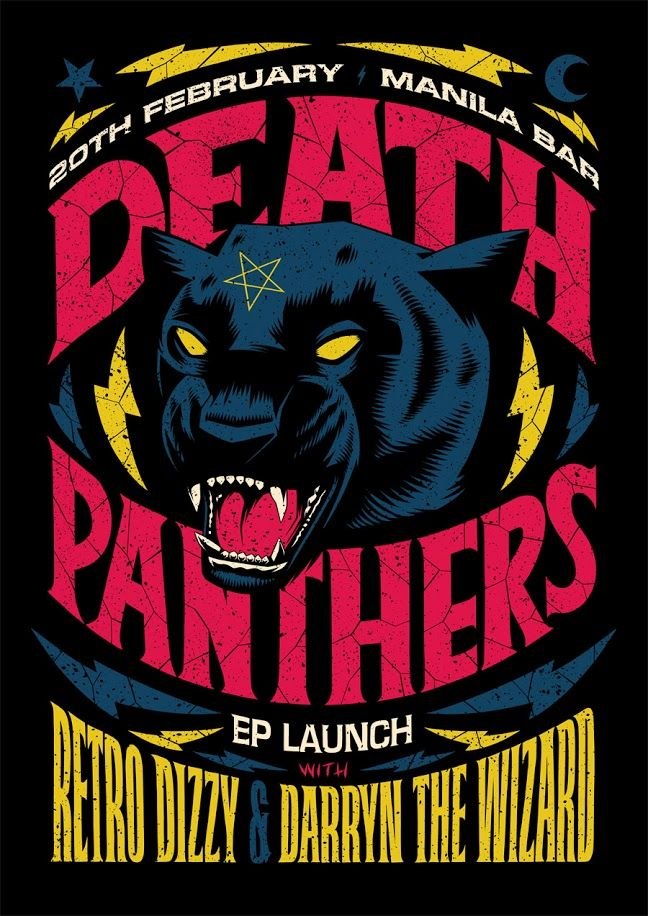 Death Panthers EP Launch Poster by Ian Jepson