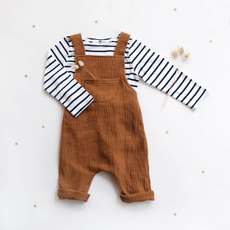Breton top and rust overalls for little boys are so good together ♡.