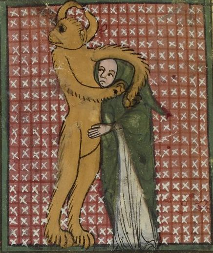 Demon with a sinner in a headlock. Matfré Ermengau, Breviari d'amor et Lettre à sa soeur, 14th century. Bibliothèque nationale de France, Français 857,