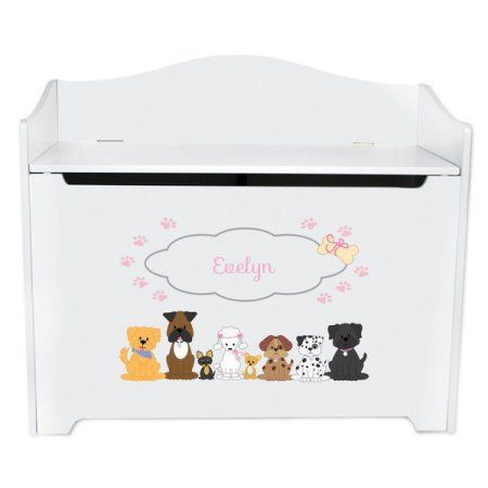 Personalized Pink Dogs White Toy Box Bench Dog Toy Box Dog Toys