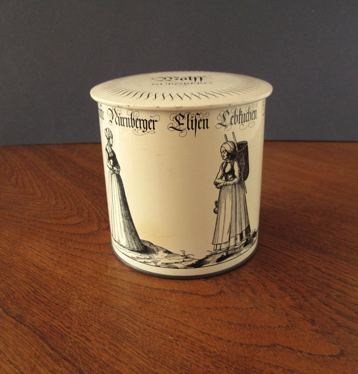 Marvelous Vintage German Nueremberg N rnberg Elisen Lebkuchen white tin with lid by Wolff Weiss Christmas