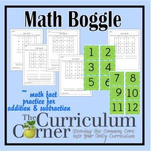 Addition and Subtraction Math Fact Boggle - free printable Boggle cards plus recording pages for your classroom from The Curriculum Corner