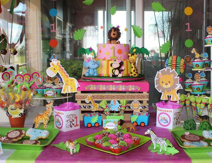 """Baby Jungle Animals / Birthday """"Jungle for Girl """" 