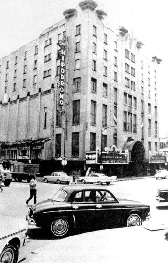 FOTOGRAFIA DE 1962. CINE HIPODROMO EN REVOLUCIÓN Y AV. JALISCO. SE INAUGURÓ 1932. EDIFICIO ART DECO