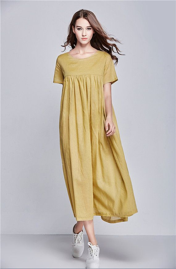 yellow linen dress for women. Extravagant flattering loose dress , so elegant and comfy ... Perfect solution for your everyday outfit:) ...not only... This would be  turn around  garment wherever you go! Your fashion update , your home entertainment your casual style ,your beach cover up, your party inspiration and so...so ...on:)  The details include: asymmetrical skirt styling, short sleeves, little pleats over the top. The dress has been cut with a long length. elegant and romantic…