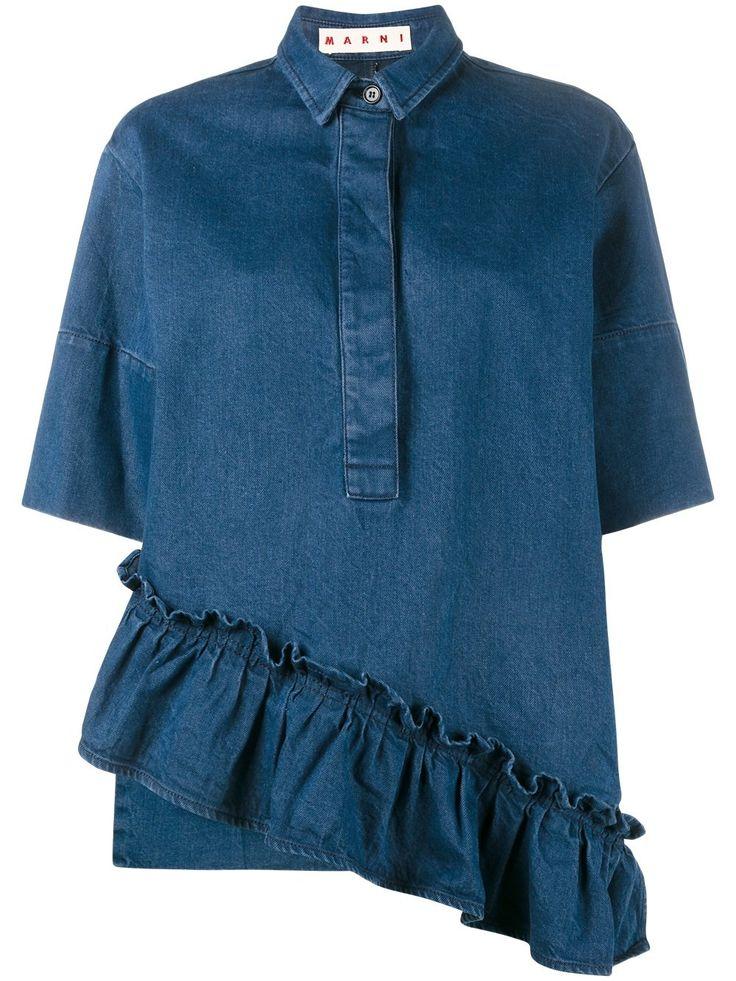 Marni джинсовая рубашка асимметричного кроя