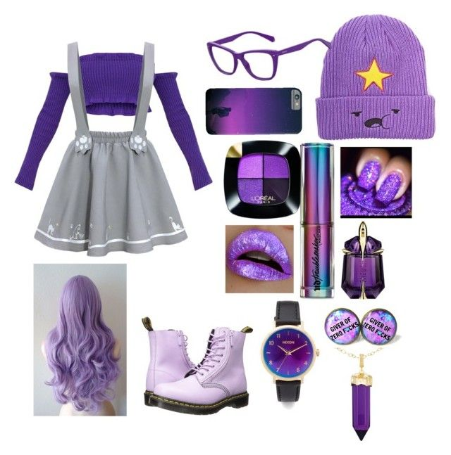 """""""If Lumpy Space Princess was a teen in 2018"""" by mimixai on Polyvore featuring Dr. Martens, L'Oréal Paris, Urban Decay, Thierry Mugler, Polaroid, Nixon and Simone I. Smith"""