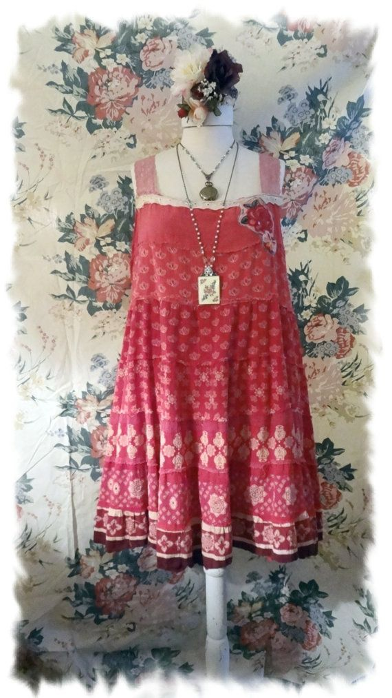 Tea Stained Raspberry Pink Mori Girl Jumper, Boho Chic Dress, Altered Couture, Cowgirl, Prairie, Shabby, One Size Bertha Louise Designs