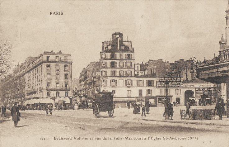 Le boulevard Voltaire et la rue de la Folie-Méricourt au niveau de léglise Saint-Ambroise, vers 1900.