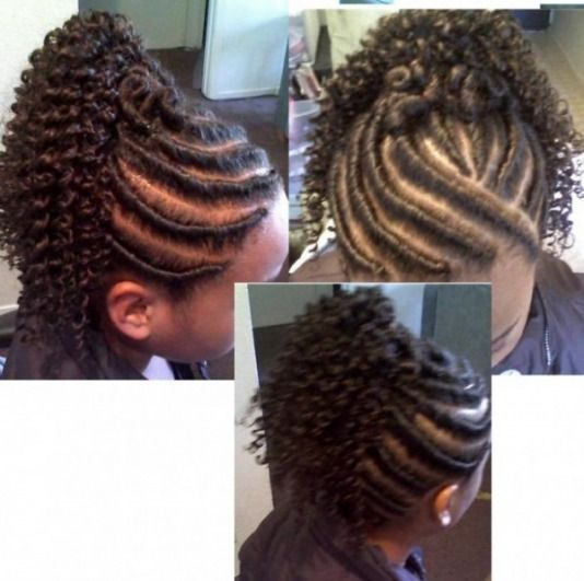 Flat Twist Updo With Extensions Below Flat Twist With