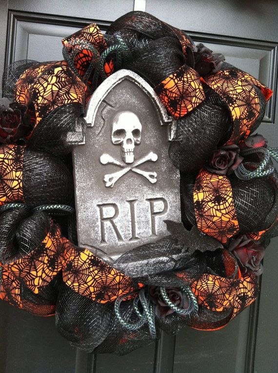 Deco mesh Halloween wreath by Adornments4Living on Etsy, $55.00