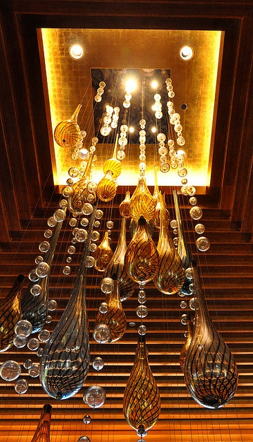 Glass chandelier at Seaglass in the Bahamas