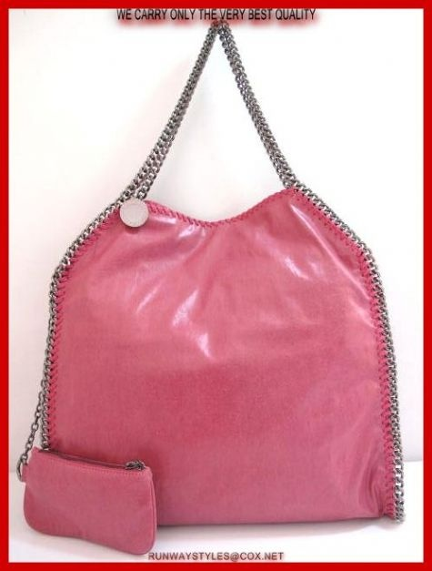 "Stella McCartney Falabella Pink Chain Bag.  Faux-leather hobo bag with silver curb chain shoulder straps and trim.   Magnetic snap closure,   Fully lined main compartment.   Inner zip, patch pockets.   Coin purse included.   Measures 16"" long, 16"" high, 4"" deep. 8"" drop."