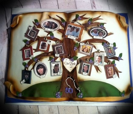 Family tree  Cake by Skmaestas      this one would be cute but we would have to get pics made on editable paper