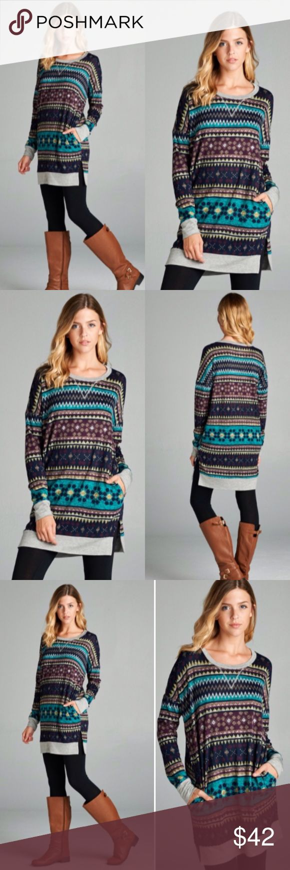 ❣️NEW❣️ Winter Navajo Print Warm Long Tunic Top Adorable and brand new! So perfect for the season! S M L XL Tops Tunics