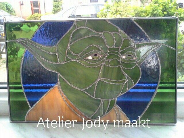 Star wars Yoda in glas.