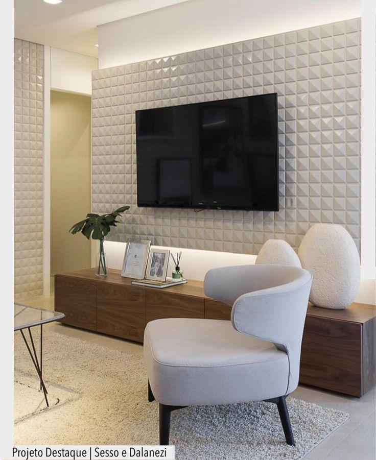 Adoramos o resultado do revestimento 3d utilizado nessa for Revestimento 3d sala de estar