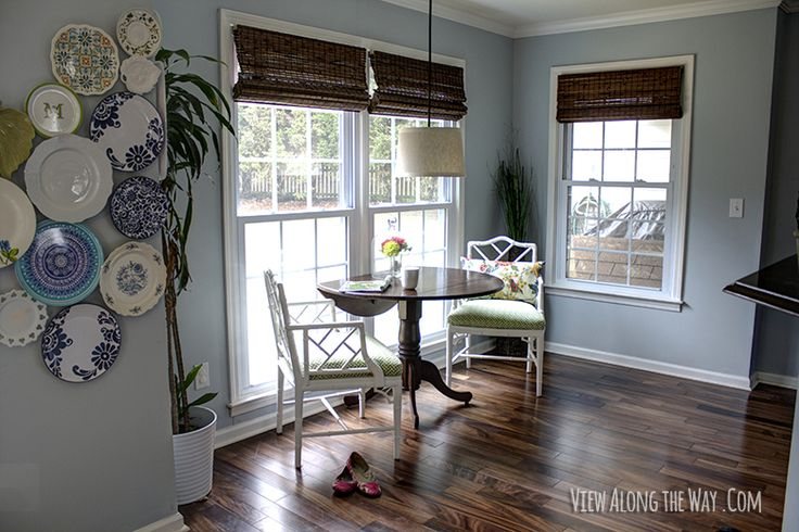 Beautiful new bamboo blinds from @Payless Decor in breakfast nook!