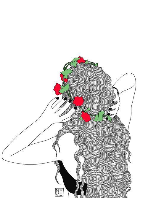 Flores en la cabeza, mariposas en el estomago.....y un vestido de unas hojas, como el de campanilla no?