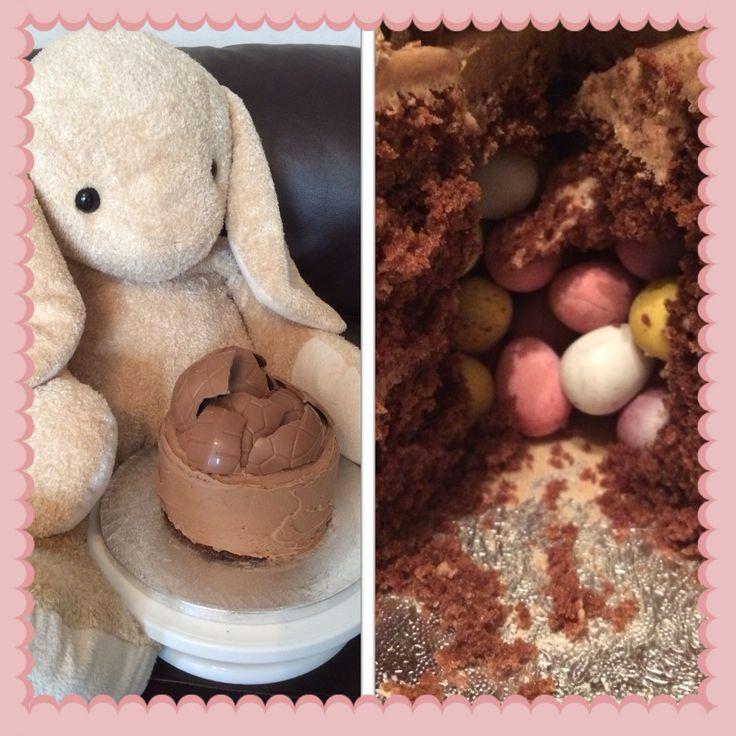 Chocolate piñata mini egg cake!