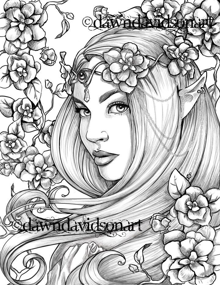 Freckles The Fairy Coloring Page Printable Colouring For Adults Instant Download Grayscale Coloring Fantasy Stress Relief Fairy Coloring Pages Grayscale Coloring Fairy Coloring