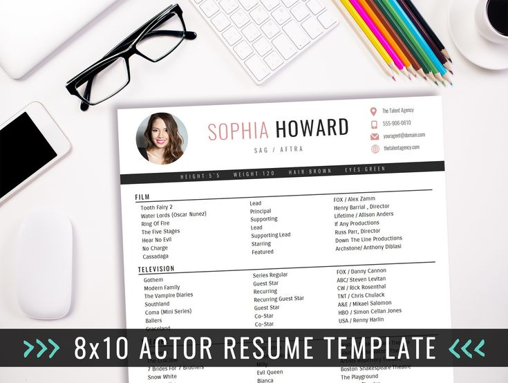 8x10 Actor Resume Template with Photo - 8x10 Actor Resume Template - INSTANT DOWNLOAD acting resume template! 8x10 acting resume format. Easy to edit in Microsoft Word. For the beginner or professional actor. Acting CV.