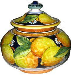 Italian Ceramic Lemon Ravello Biscotti Cookie Jar