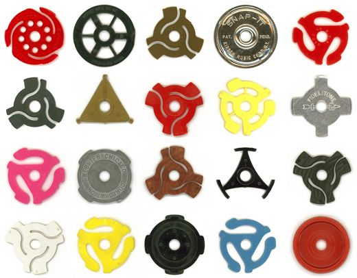 45 record adapters~ I didn't remember there were so many types. Does this age me... letting you know, that I know what they are??  =)