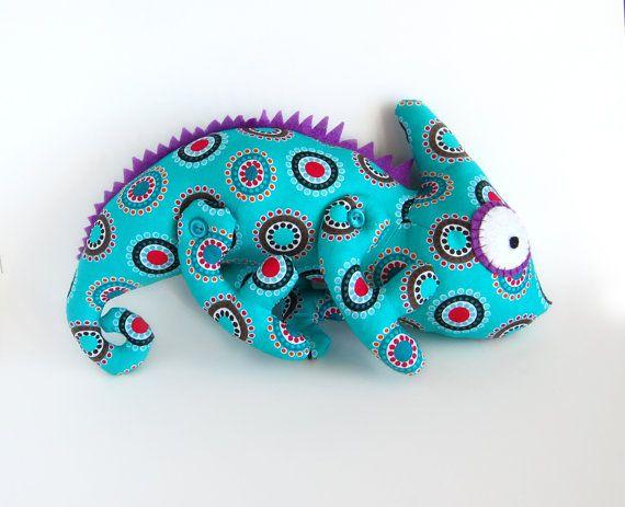 Chameleon soft toy kids Cotton green stuffed animal by RomeoShop