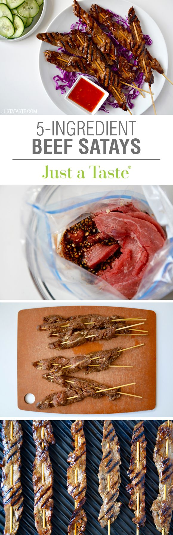 5-Ingredient Beef Satays recipe via justataste.com