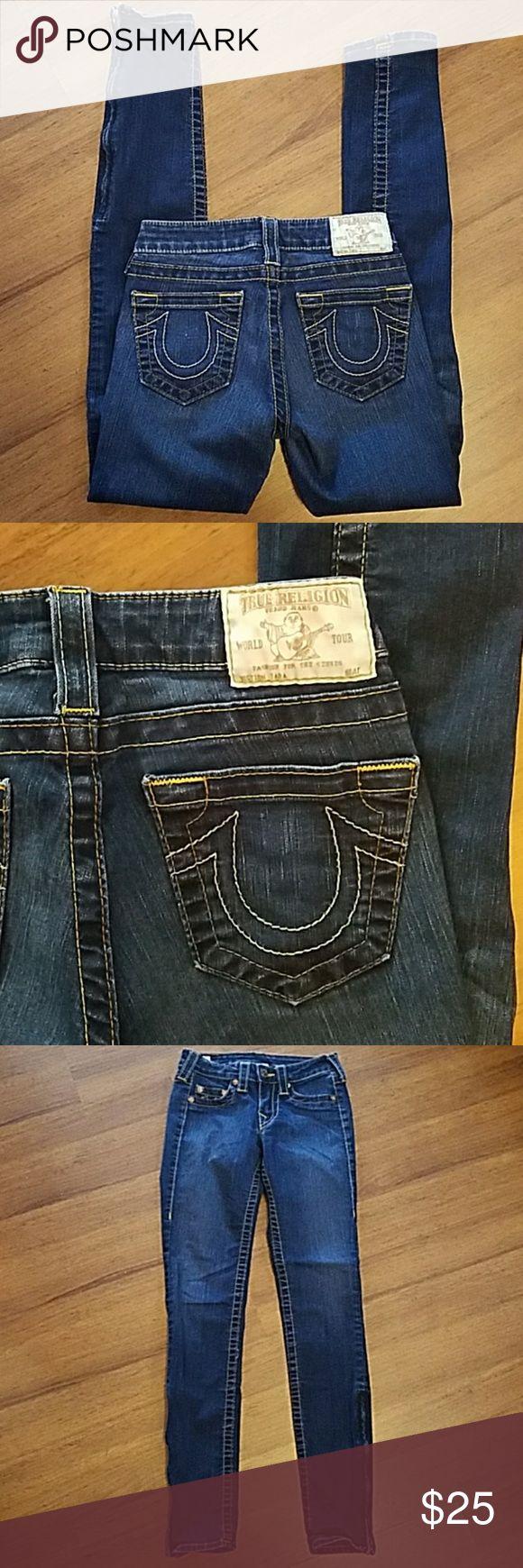 True Religion jeans size 24 Tara True Religion jeans size 24 Tara. Inseam is 29 inches. Skinny with zipper on each ankle. True Religion Jeans Skinny