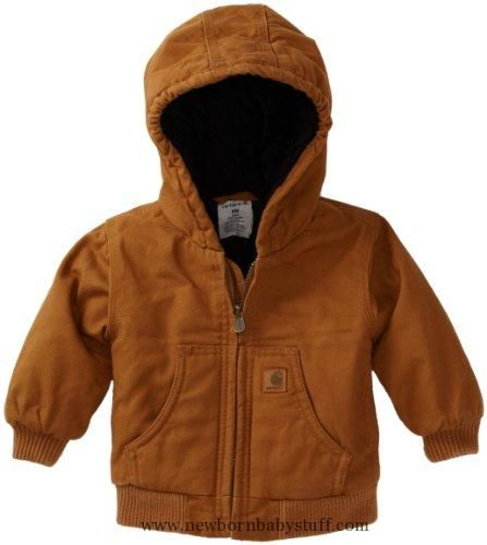 Baby Boy Clothes Carhartt Baby-boys Infant Active Quilted Flannel Lined Jacket, Carhartt Brown, 6 Months