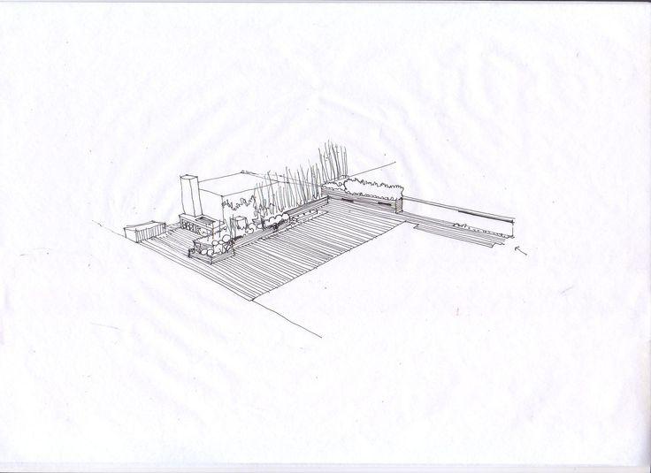 Croquis dise o de jardin en atico dibujos croquis y for Croquis jardin