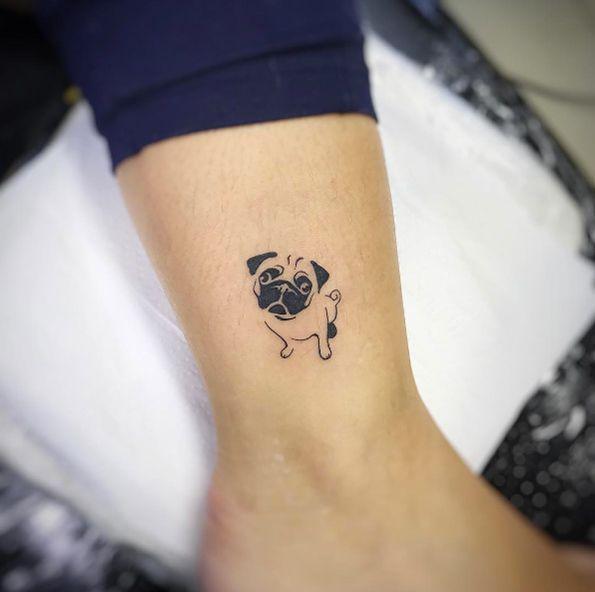 Pug By Jorge Carvalho Beautytatoos Small Dog Tattoos Dog