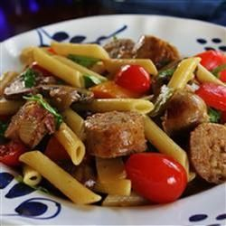 Grilled Italian Sausage and Peppers over Penne Pasta, photo by naples34102