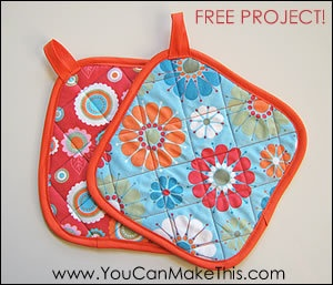 """Free! Make Hot Pads! A """"You Can SEW This!"""" ProjectFree Pattern, Sewing Crafts, Hotpads, Sewing Patterns Free, Sewing Ideas, Beginner Sewing Projects, New Products, Beginners Sewing Projects, Hot Pads"""