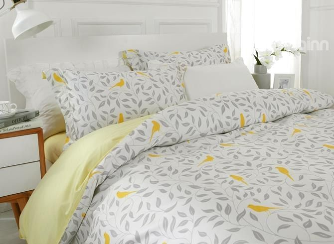 Designer Gray Leaves And Yellow Birds Pattern Cotton 4 Piece Bedding Sets Duvet Cover Cotton Bedding Sets Bedding Sets Cotton Bedding