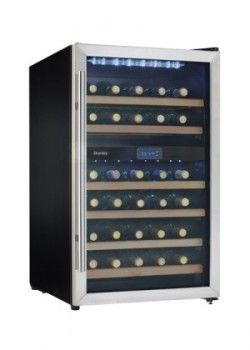 Danby DWC113BLSDBC 19 1/2 Inch Wine Cooler with 38 Bottle Capacity, Dual Temperature Zones for Red and White Wine Storage, Blue LED Thermostat, Stainless Steel Towel Bar Handle, Beechwood Shelving, Reversible Door and Frost Free Operation