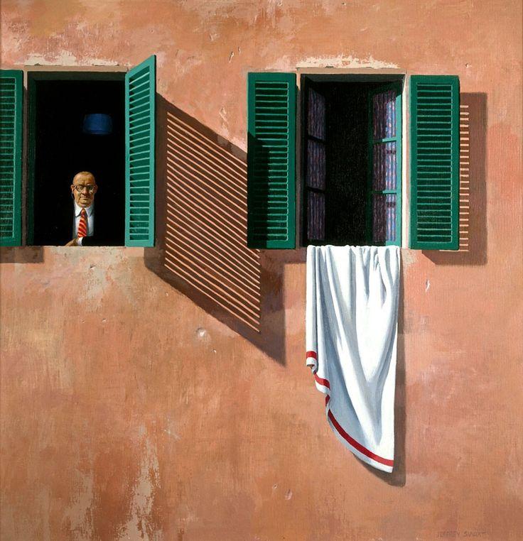 At the window, Fattoria, 1979, by Jeffrey Smart