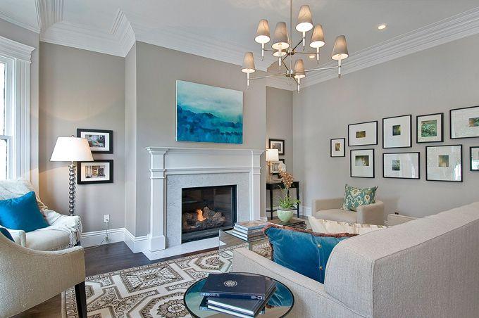 Wall color, gallery wall: Idea, Living Rooms, Livingroom, Paintings Colors, Wall Color, Grey Wall, Paint Colors, Benjamin Moore Abalone, Gray Wall