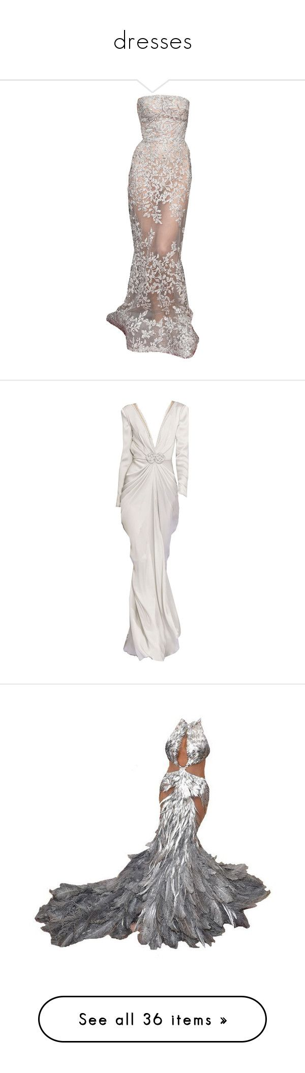 """dresses"" by trillest-princesss ❤ liked on Polyvore featuring dresses, gowns, long dresses, brown evening dress, brown gown, brown dresses, brown evening gowns, white ball gowns, white evening dresses and white dresses"