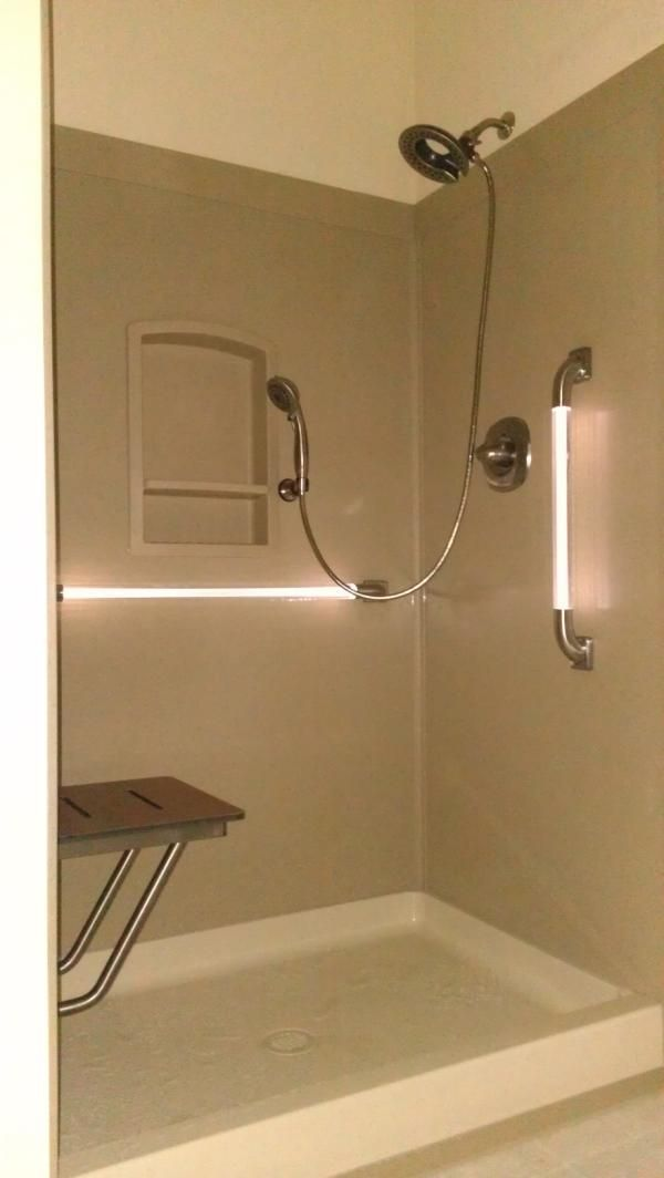 Swanstone shower, drop-down shower chair, LED Grab bars, removable