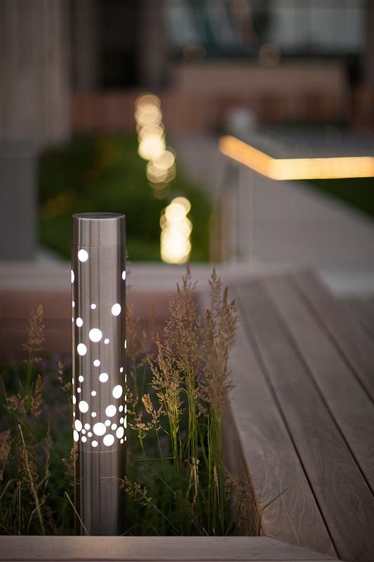 Light Column Bollard shown in Stainless Steel with Satin finish with 360 degree Bubbles shield at One Prudential Plaza Rooftop Deck, Chicago, Illinois