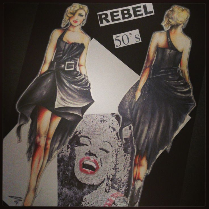Fashion sketch by Roxanne Jade Dentry - 50's INSPIRED COUTURE DRESS
