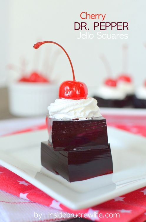 Cherry Dr. Pepper Jello Squares - cherry Jello & cherry Dr. Pepper make a fun summer treat: Fun Summer, Cherry Dr., Cherries Dr., Dr. Peppers, Recipes, Cherries Jello, Peppers Jello, Summer Treats, Jello Squares