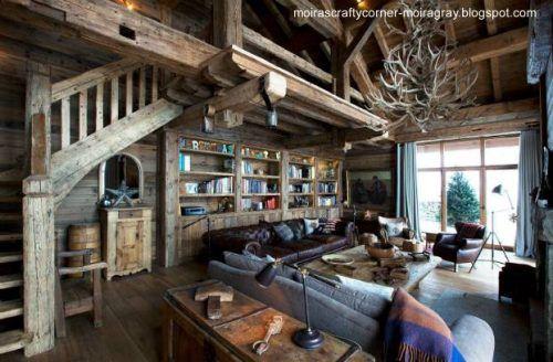 Vista interior de un genuino chalet suizo