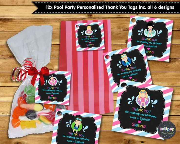 12X POOL PARTY THANK YOU FAVOUR GIFT TAGS LABELS LOLLY BAG BIRTHDAY SWIM GIRL  #personaliseditem #Birthday