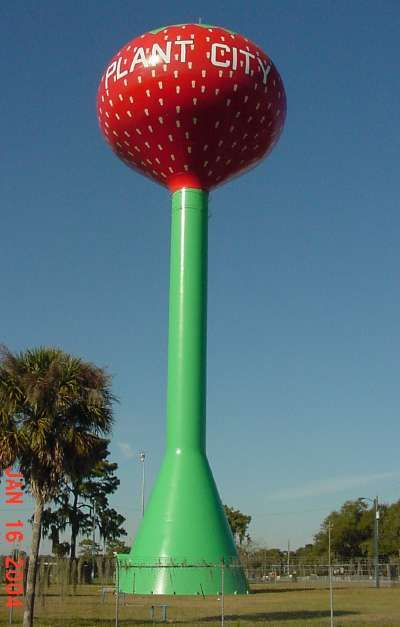 Water tower in the shape of a strawberry in Plant City, Florida. Plant City, just outside of Tampa, is known as the winter strawberry capital of the world.