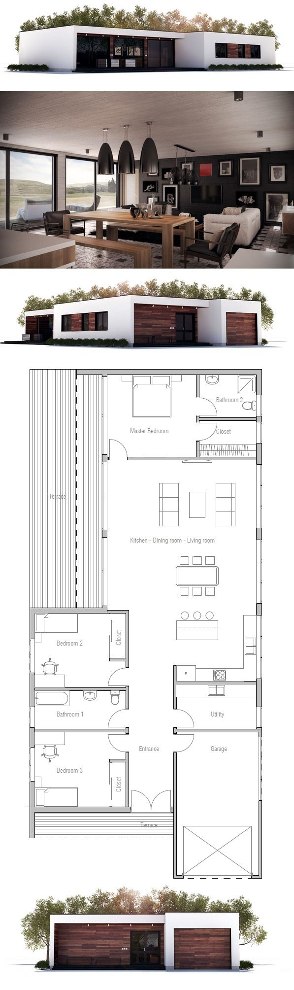 Interesting layout. Surprise bedroom at the back. Utility room in the front.Narrow House Plan, New Home, Minimalist House Design
