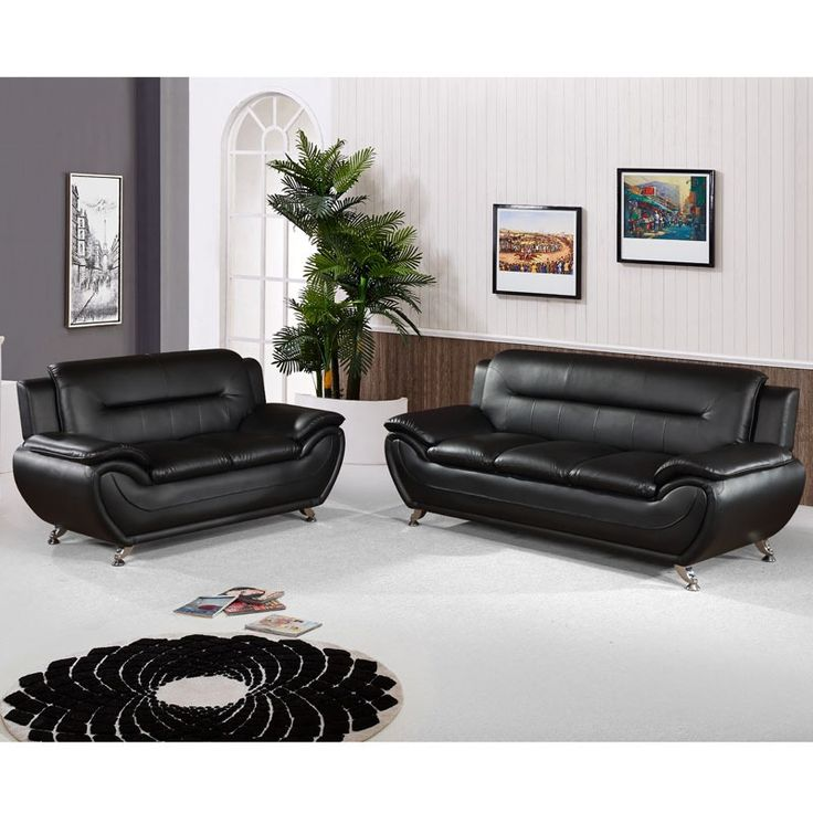 Sectional Sofas Empress Black Contemporary Sofa and Loveseat Weekends Only Furniture and Mattress